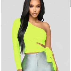 Fashion Nova Holding It Down Neon Crop Top